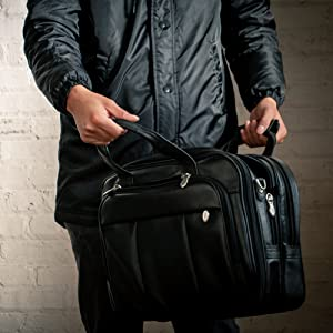 "17"" Leather Patented Detachable -Wheeled Laptop Briefcase. Spacious for business and personal items"