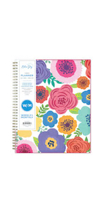 blue sky, mahalo collection, 2020-2021, bold florals, 8.5x11, monthly, planner, closeup