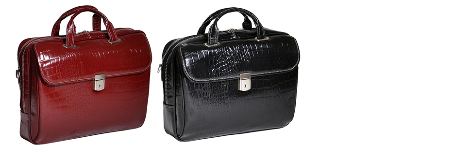 "Black and Red 15"" Leather Medium Ladies Laptop Briefcase. For business travel, work, casual style"