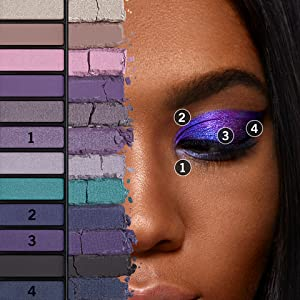 Close-up of woman's face presenting different shades of Rimmel Magnif'eyes Eye Palette
