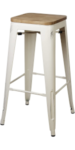 GIA Low-Back Metal Stool industrial furniture kitchen dining restaurant chairs seating stackable