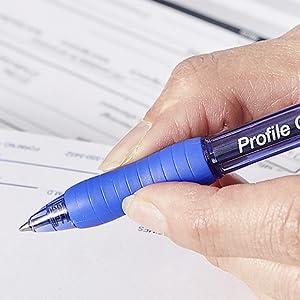 Fingers gripping Profile Gel pen
