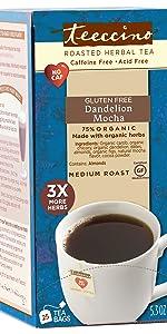 Teeccino Dandelion Mocha is a gluten free, caffeine free coffee alternative you can steep like tea