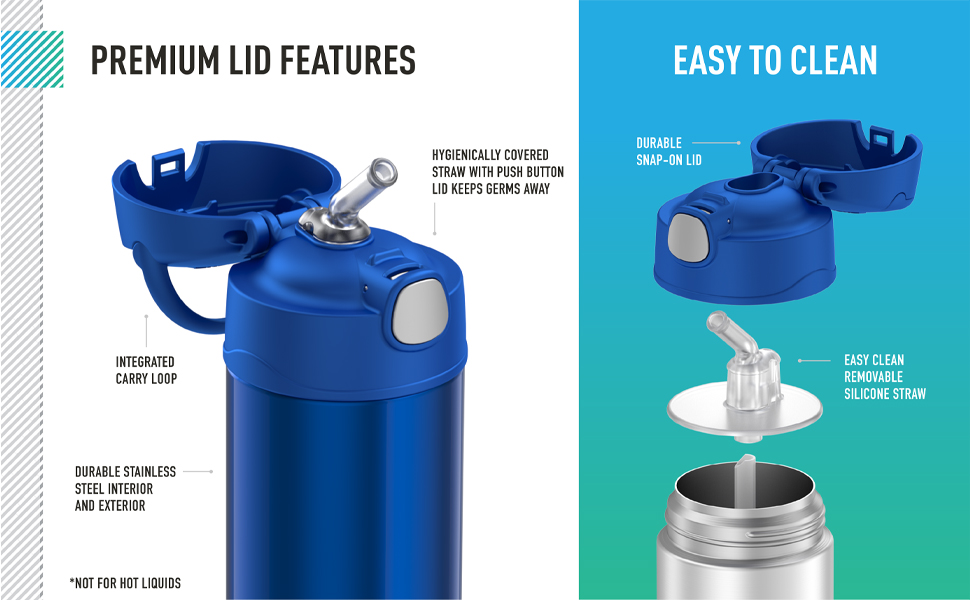 Thermos brand Funtainer drink bottle features