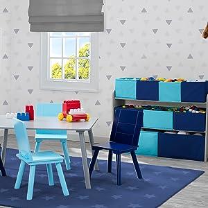 delta children kids toddler playroom furniture table chair set multi bin toy organizer