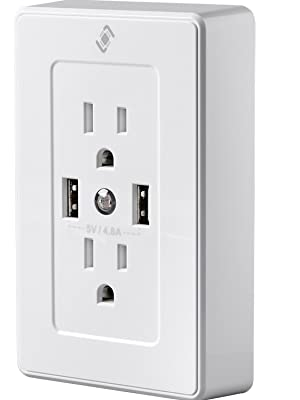 STITCH Wireless Smart Plug Wall Outlet with 2 Receptacles 15A, 2 USB Ports 4.8A, Night Light