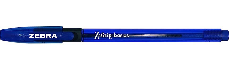 z-grip basics, zebra pen basics, z-grip basics stick pen blue, z-grip basics performant stick pen