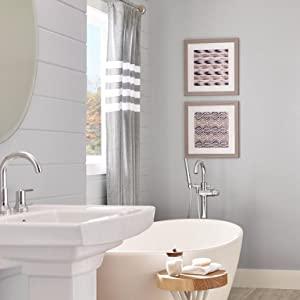 gray bathroom, gray paint, grey paint, behr paint, bathroom paint