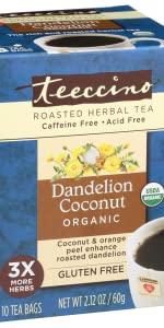 Teeccino Dandelion Coconut Herbal Tea is a healthy dessert tea that's caffeine free and acid free