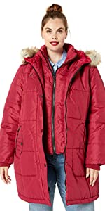 Thigh-Length Puffer Jacket with Sweatshirt Bib
