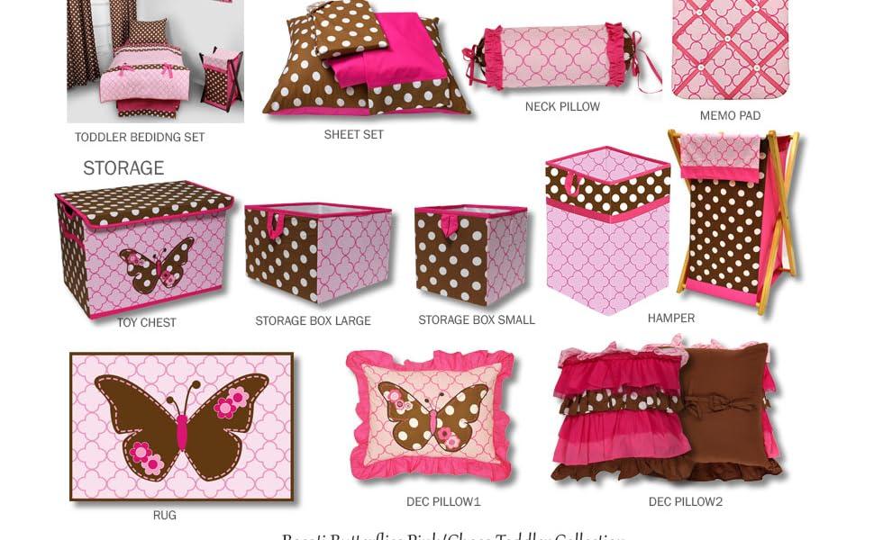 Bacati Butterflies/Ladybugs Pink/Chocolate Girls Toddler Room Decor