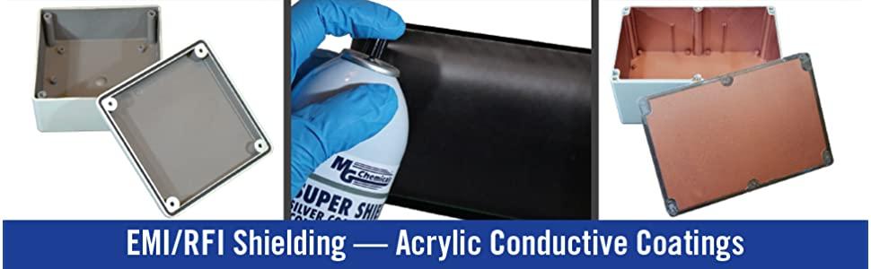 EMI RFI Shielding, acrylic conductive coatings