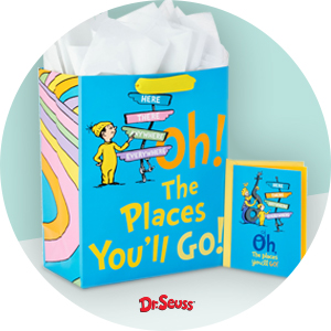 "Bright blue gift bag & card with ""Oh The Places You'll Go"" text for kindergarten graduations"