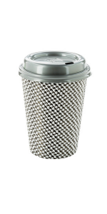 White and black paper coffee cups with gray coffee cup lid that look cute serving coffee and tea