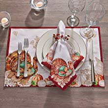 Elrene Home Fashions Holiday Turkey Bordered Placemat