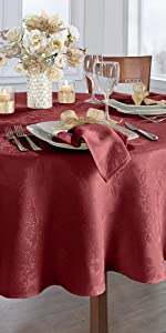 Elrene Home Fashions Poinsettia Elegance Red Oval Tablecloth