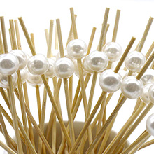 "PuTwo Cocktail Picks Handmade Bamboo Toothpicks 4.7"" White Pearl in 300 Counts"