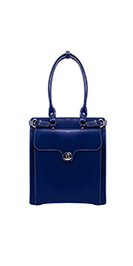 "Navy 14"" Leather Ladies' Laptop Briefcase"