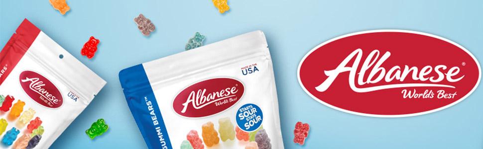 albanese, gummies, gummi bears, gummi worms, gummy bears, 12 flavor gummies, sour gummies