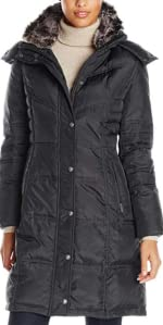 Chevron Coat with Faux-Fur Trim
