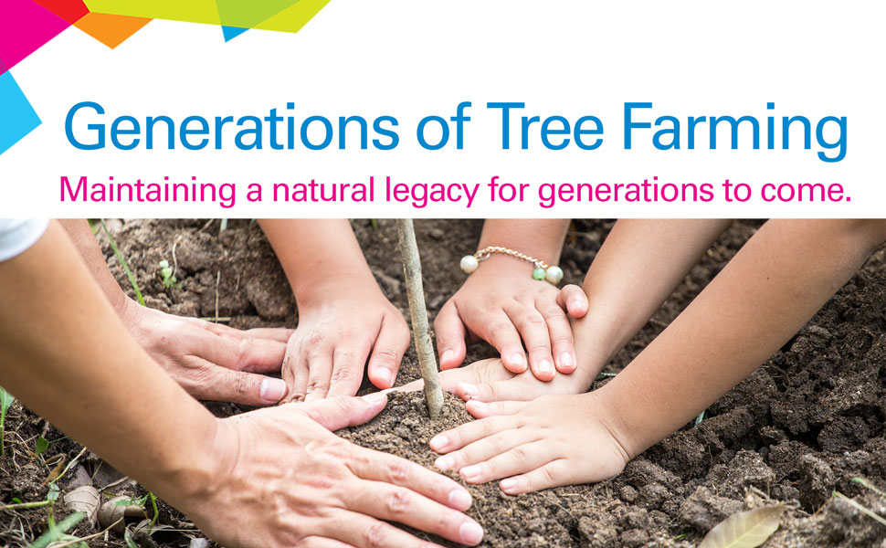 """Planting a tree """"Generations of tree farming, maintaining a natural legacy for generations to come."""""""