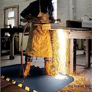 Hog Heaven mat, safe, comfortable, anti-fatigue, weld proof, industrial mat, durable, caution border