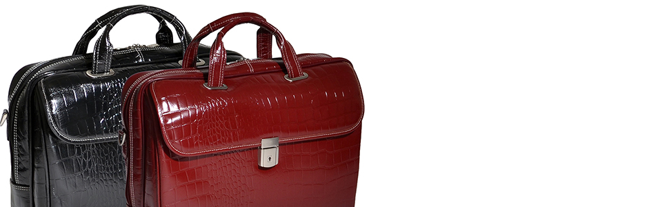 "Fancy stylish Black and Red 15"" Leather Large Ladies Laptop Briefcase for business, travel, leisure"