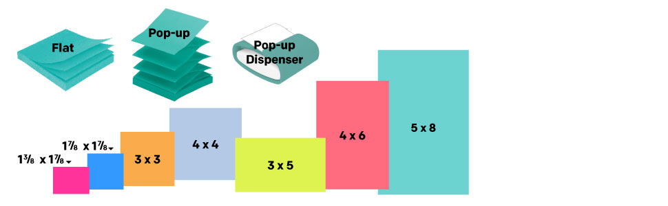 Sizes: 1.375 x 1.875, 1.875 x 1.875, 3 x 3, 4 x 4, 3x5, 4x6, 5x8, Flat, Pop-up and Pop-up Dispenser