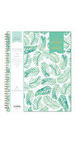 blue sky, day designer, palms collection, academic planner, weekly, monthly, 8.5x11, leaf design