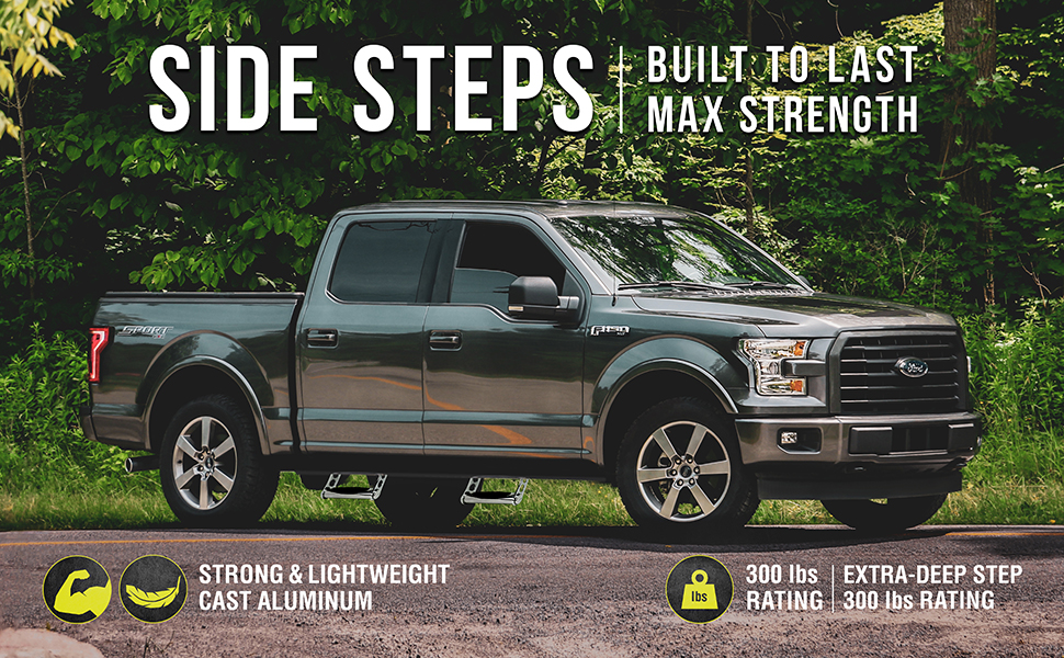 Bully,side step,truck accessories,durable,support,anti-slip,easy to install,rugged,customizable,pair