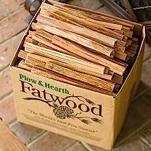 fatwood, kindling, box, firewood