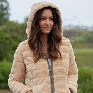 BE BOUNDLESS Women's Water-Resistant Knit Reversible Faux Fur Jacket