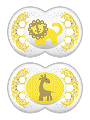 mam, baby, paci, pacifier, soothie, binky, clear, 6+ months, unisex, yellow