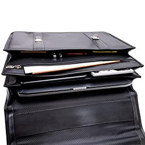 Leather Double Compartment Laptop Briefcase with an organizer for all tablets, notebooks, pencils.