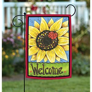 colorful;red;yellow;sunflower;flower;summer;fall;autumn;ladybug;bug;cute;welcome