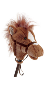 brown stick horse stuffed animal hobby horse toy