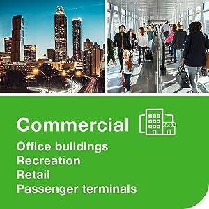 Commercial, office buildings, recreation, retail, passenger terminals