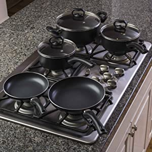 All pans on stove