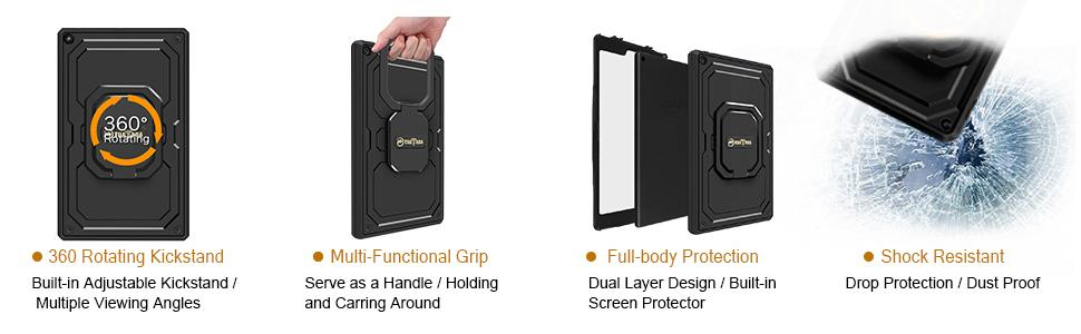 Kindle Fire hd 10 case 2017 7th generation screen protector leather cover