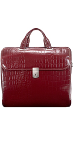 "Red 13"" Leather Tablet Briefcase"
