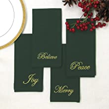 Elrene Home Fashions Holiday Sentiments Set of 4 Napkins