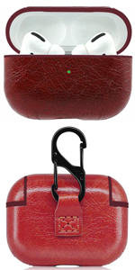 Airpods Pro red protective leather case cover