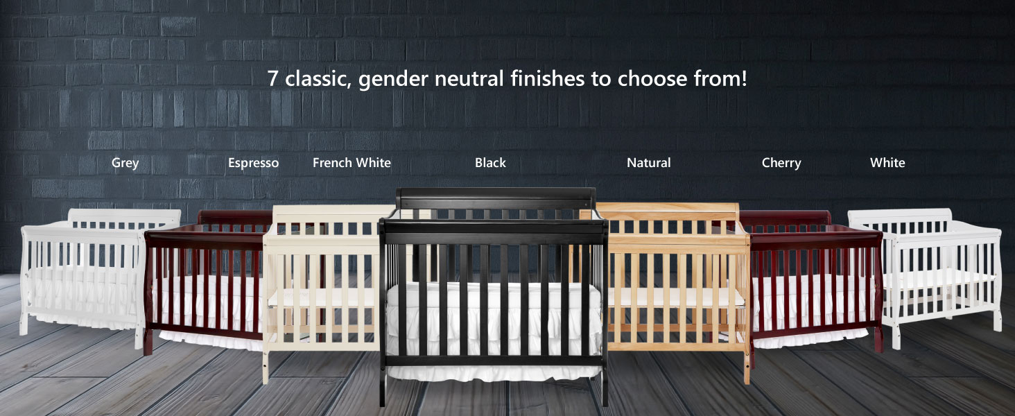 French White Gray Cherry Espresso Black  Natural White aden mini crib for baby