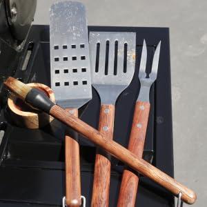 Grill Utensils, Starter, Skewers, Kabobs, Spatula, Tongs, Fork, Stainless Steel, Mitt, Oven, BBQ