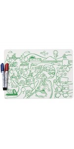 Markers, Placemat, Silicone, Nonslip, Dry Erase, Activity, Reusable, Non Toxic, Plastic, Dining, Kid