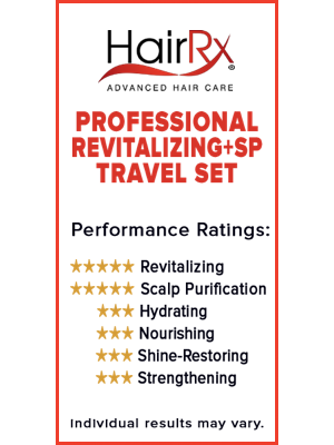 HairRx revitalizing +SP shampoo and conditioner travel set revitalizes and revives oily hair
