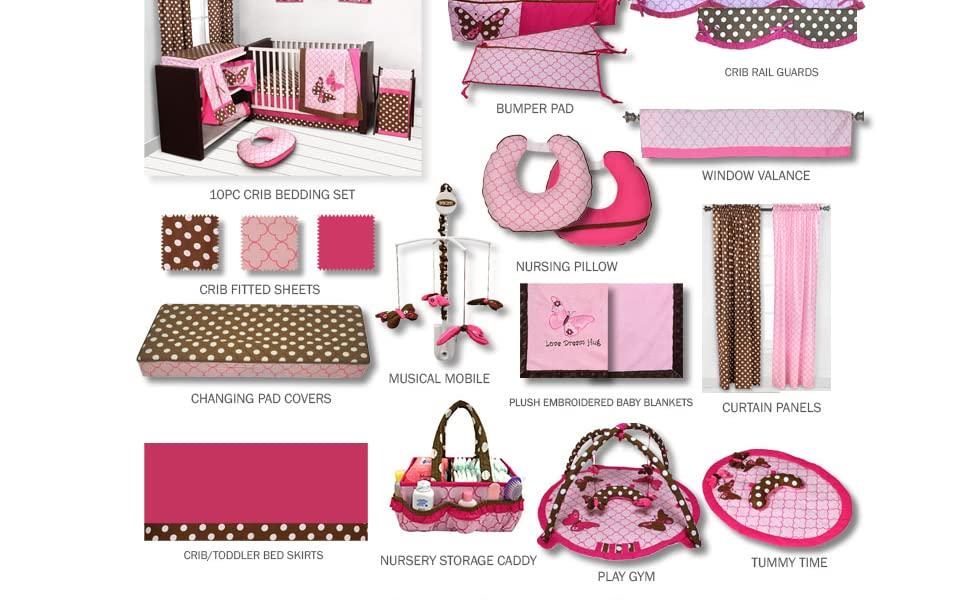 Bacati Butterflies/Ladybugs Pink/Chocolate Girls Nursery Decor