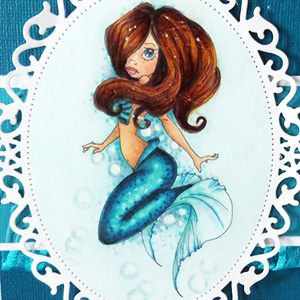 Mermaid design with red hair