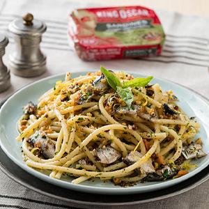spaghetti, pasta, sardines,