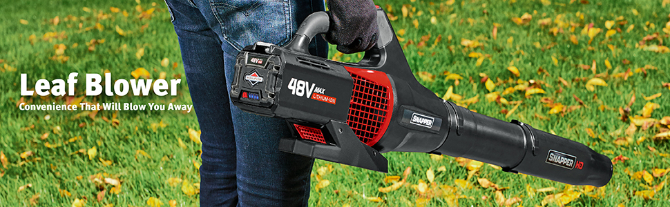 Snapper HD leaf blower electric cordless no cord lithium ion battery 48v 48-volt